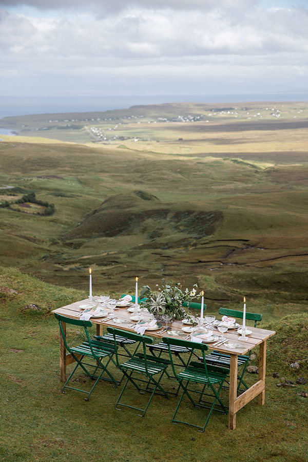 Vintage green wedding reception table at the Quiraing in the Isle of Skye Scotland destination wedding by destination wedding planner Mango Muse Events