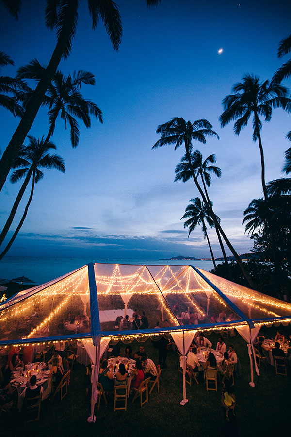 Lighted tent for a wedding reception at a private estate for a destination wedding in Hawaii by destination wedding planner mango muse events