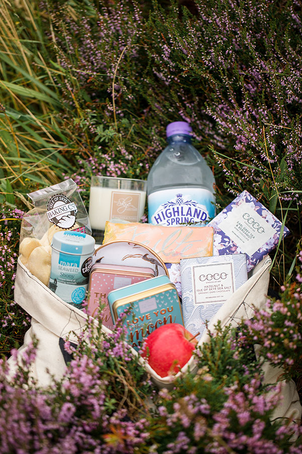 Welcome bag with local Scotland made gifts for an Isle of Skye Scotland destination wedding by destination wedding planner Mango Muse Events