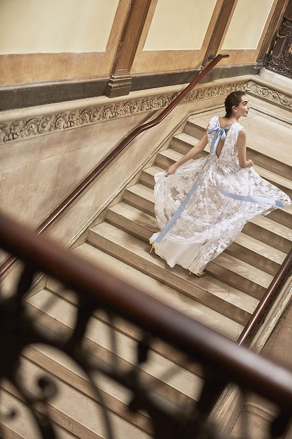 Blue bow wedding dress by Carolina Herrera Favorite Wedding Dresses from Bridal Fashion Week Spring 2019