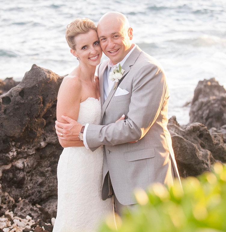 Bride and groom Big Island Hawaii wedding by Destination wedding planner mango muse events