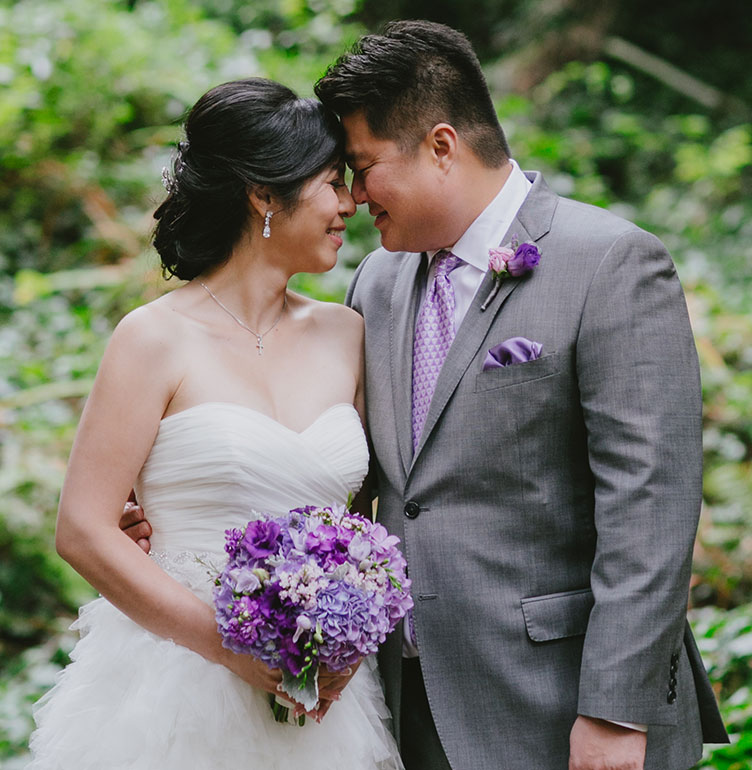 Bride and groom in the redwoods at their San Francisco wedding by Destination wedding planner, Mango Muse Events