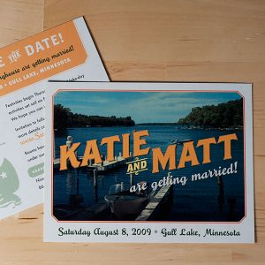 Custom save the dates created by Designs des Troy for a Lake wedding