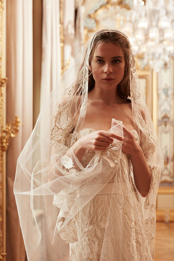 Floral lace veil and wedding dress by Elie Saab best wedding dresses from Bridal Fashion Week Spring 2019