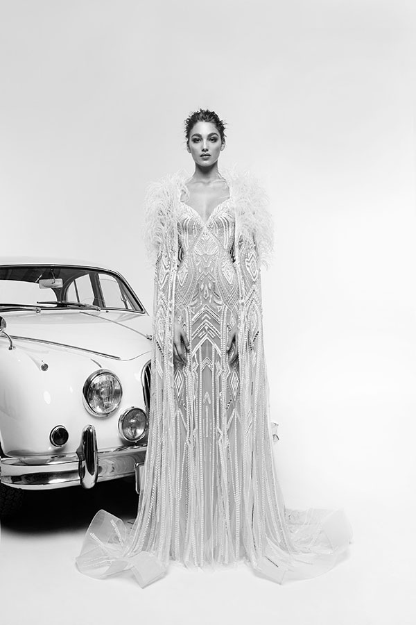 Fur cape and gatsby style wedding dress by Zuhair Murad best wedding dresses from Bridal Fashion Week Spring 2019