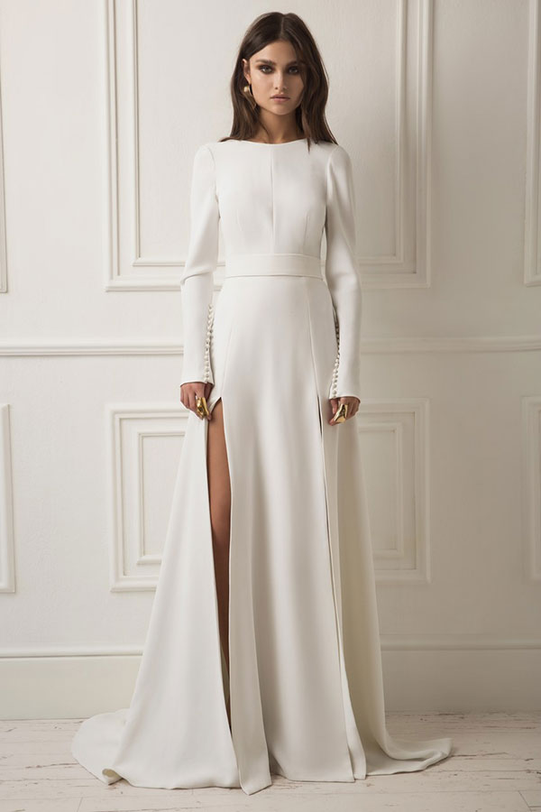 Long sleeve leg slit modern wedding dress by Dreams by Lihi Hod best wedding dresses from Bridal Fashion Week Spring 2019