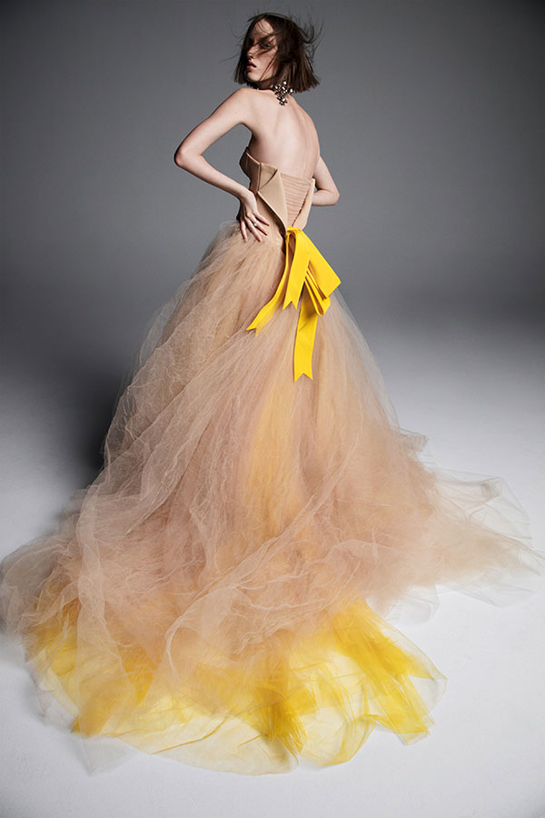 Yellow nude ball gown wedding dress by Vera Wang Favorite Wedding Dresses from Bridal Fashion Week Spring 2019