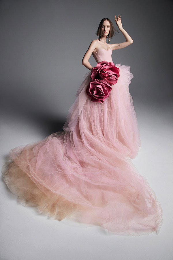 Pink ball gown wedding dress by Vera Wang Favorite Wedding Dresses from Bridal Fashion Week Spring 2019