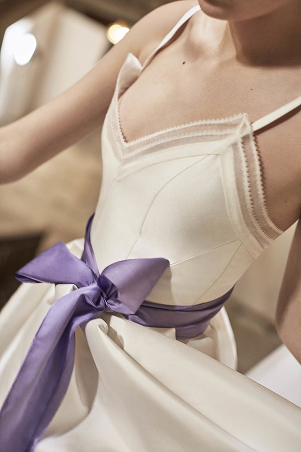 Purple bow wedding dress by Carolina Herrera Favorite Wedding Dresses from Bridal Fashion Week Spring 2019