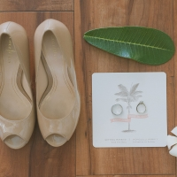 Save the date wedding rings and nude wedding shoes for tropical wedding in Hawaii by Destination wedding planner Mango Muse Events