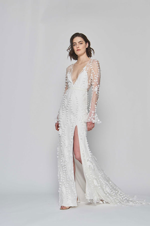 Sheer long sleeve leg slit wedding dress by Alexandra Grecco best wedding dresses from Bridal Fashion Week Spring 2019