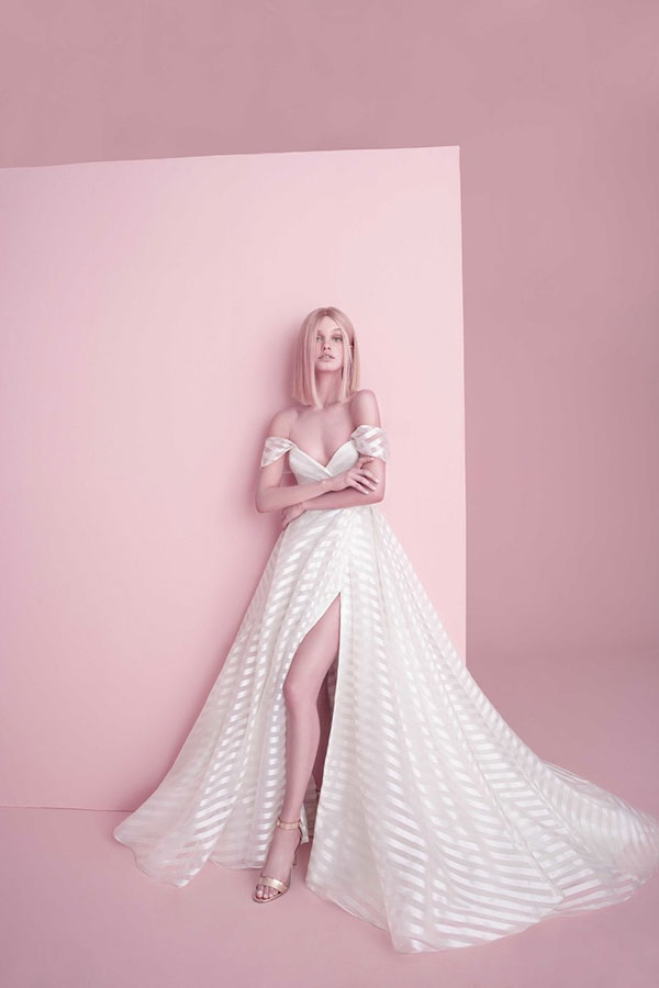 Striped off the shoulder wedding dress by Hayley Paige best wedding dresses from Bridal Fashion Week Spring 2019