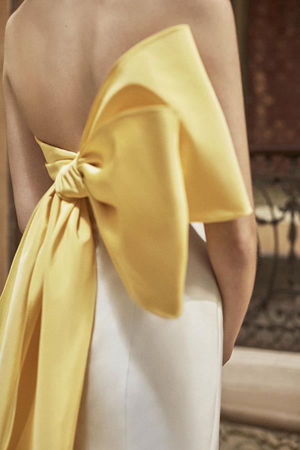 Yellow bow wedding dress by Carolina Herrera Favorite Wedding Dresses from Bridal Fashion Week Spring 2019