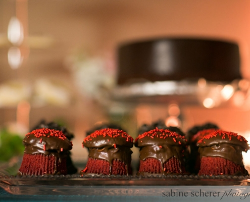 Red velvet babycakes as a part of a dessert bar at a Carmel wedding at Quail Lodge by Destination wedding planner Mango Muse Events