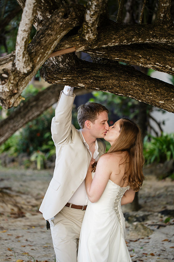 Bride and groom kiss at their St. Croix USVI destination wedding in the Caribbean by Destination wedding planner Mango Muse Events