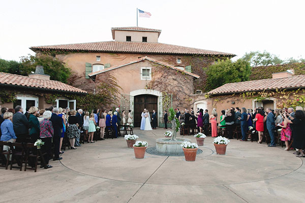 Wedding ceremony at Viansa Winery for a destination wedding in Sonoma by Destination wedding planner Mango Muse Events