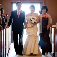 Bridal processional with her parents at Chapel of our Lady for a San Francisco wedding by Destination wedding planner Mango Muse Events