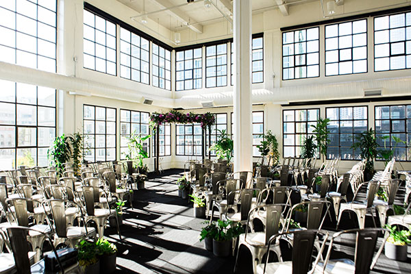 Wedding ceremony conservatory with a modern industrial design in Terra Gallery wedding venue San Francisco wedding by Destination wedding planner Mango Muse Events