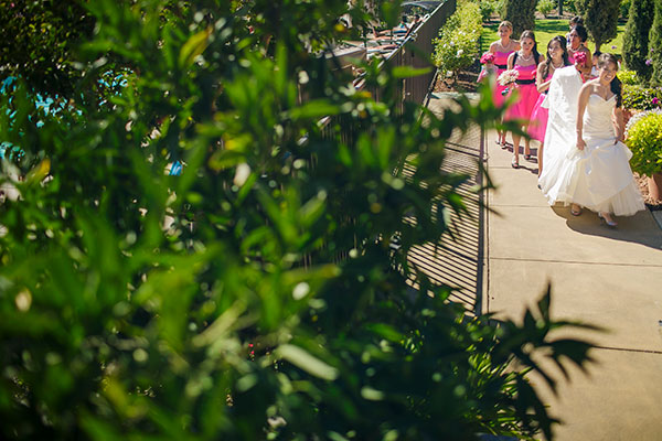 Bride and bridesmaids walking to a wedding ceremony in Sonoma by destination wedding planner Mango Muse Events