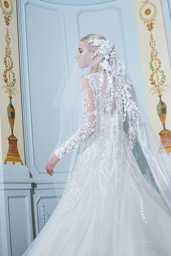 Elie Saab floral embellished veil wedding dress from Bridal Fashion Week Fall 2019