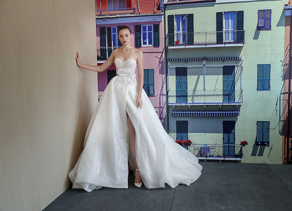 Galia Lahav Couture leg slit strapless wedding dress from Bridal Fashion Week Fall 2019