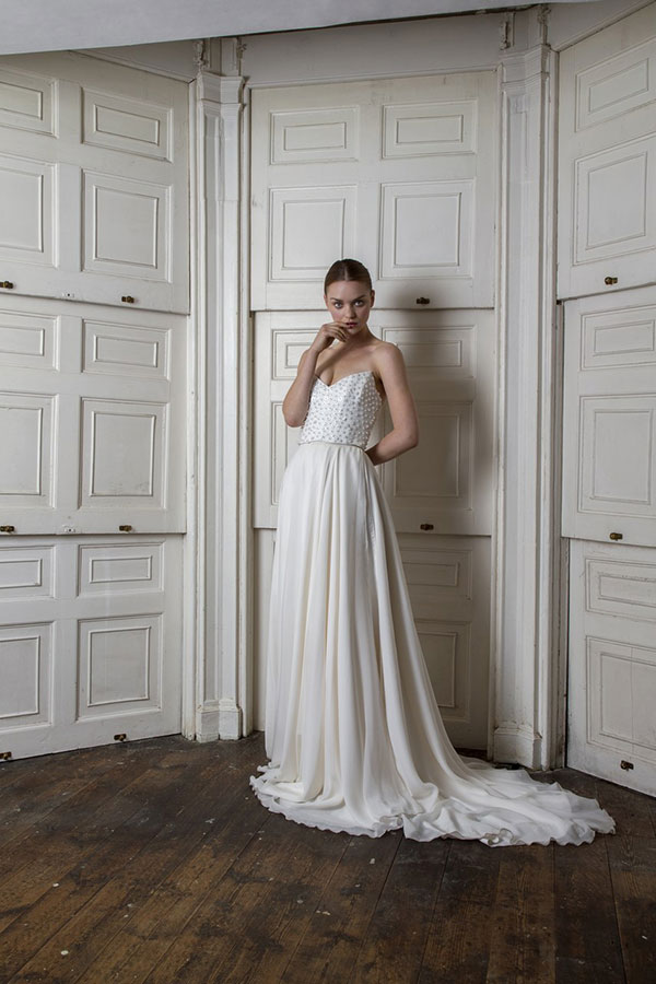 Half Penny London structured bodice strapless wedding dress from Bridal Fashion Week Fall 2019