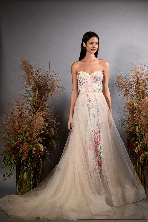 Hermoine de Paula multi-colored embroidered wedding dress from Bridal Fashion Week Fall 2019