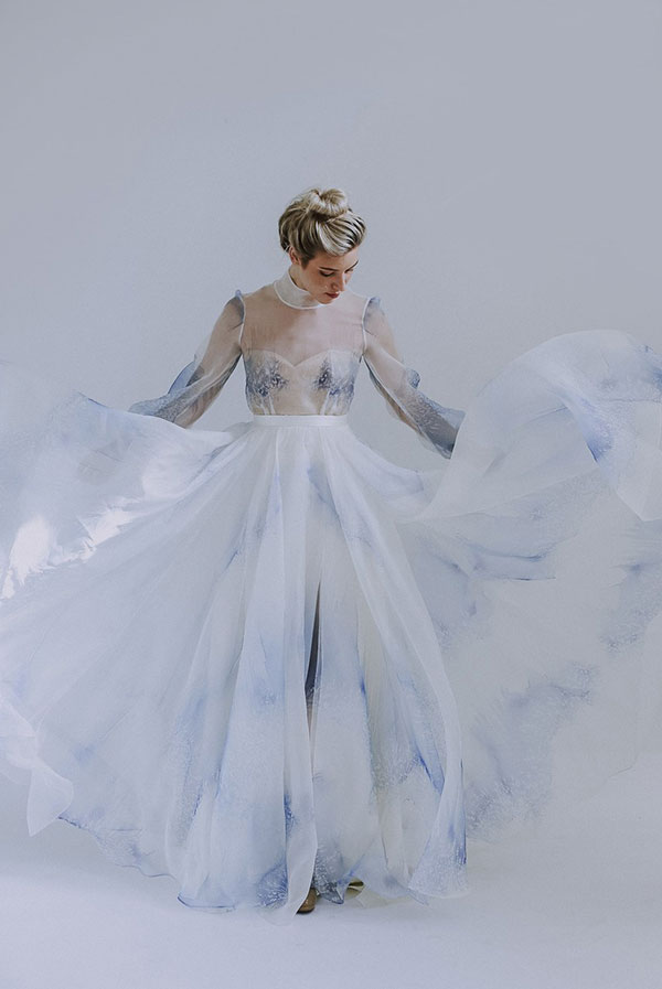 Leanne Marshall flowy blue colored wedding dress from Bridal Fashion Week Fall 2019