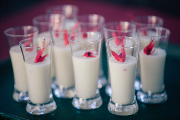 Potato leek soup shooter amuse bouche for a destination wedding in Hawaii by destination wedding planner Mango Muse Events