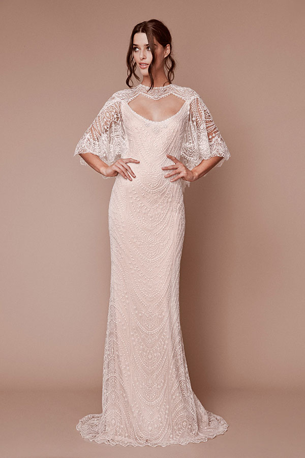 Tadashi Shoji dolman sleeved wedding dress from Bridal Fashion Week Fall 2019