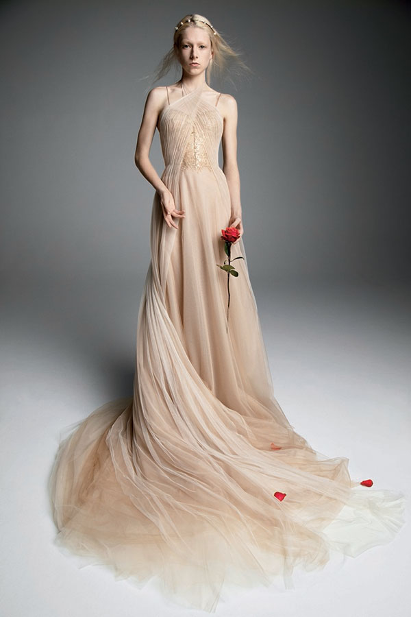 Vera Wang nude colored wedding dress from Bridal Fashion Week Fall 2019