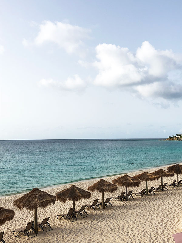Meads bay beach in Anguilla at the Frangipani resort Caribbean wedding by Destination wedding planner Mango Muse Events