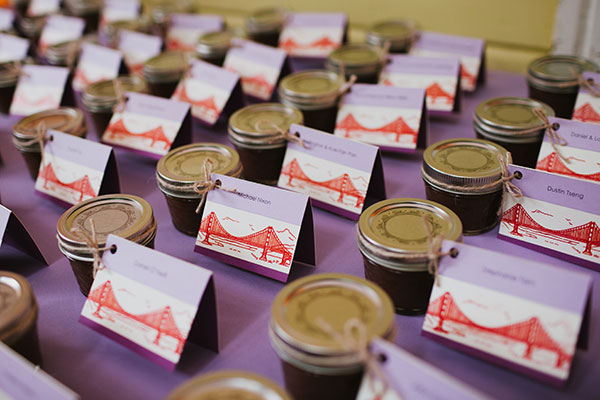 Home made apple sauce seating cards and wedding favors for a San Francisco destination wedding by destination wedding planner Mango Muse Events