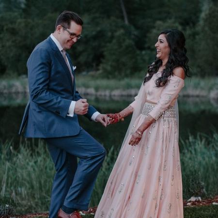 Happy couple celebrating at a Calistoga ranch destination wedding by destination wedding planner Mango Muse Events