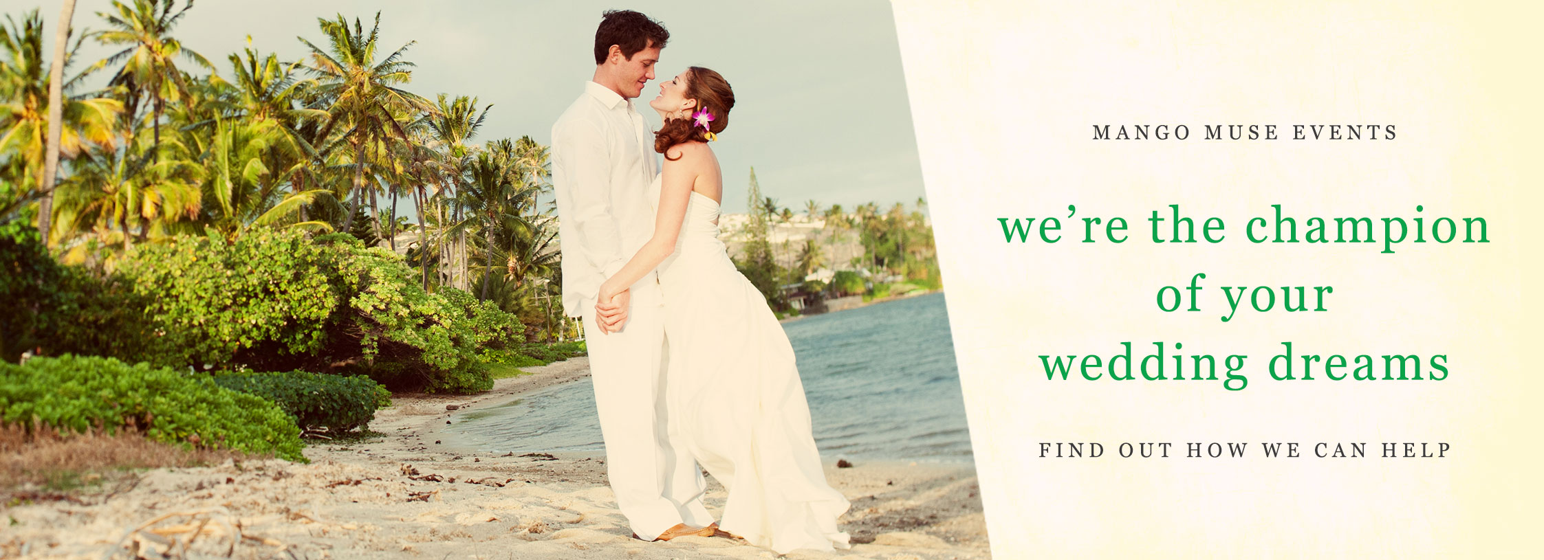 Destination wedding on the beach at a private estate in Hawaii by Destination wedding planner Mango Muse Events