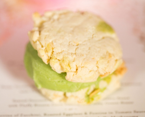 Green tea and almond cookie ice cream sandwiches for dessert at a San Francisco destination wedding by destination wedding planner Mango Muse Events