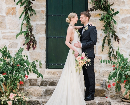 Bride and groom at their Zadar countryside destination wedding ceremony in Croatia by destination wedding planner Mango Muse Events