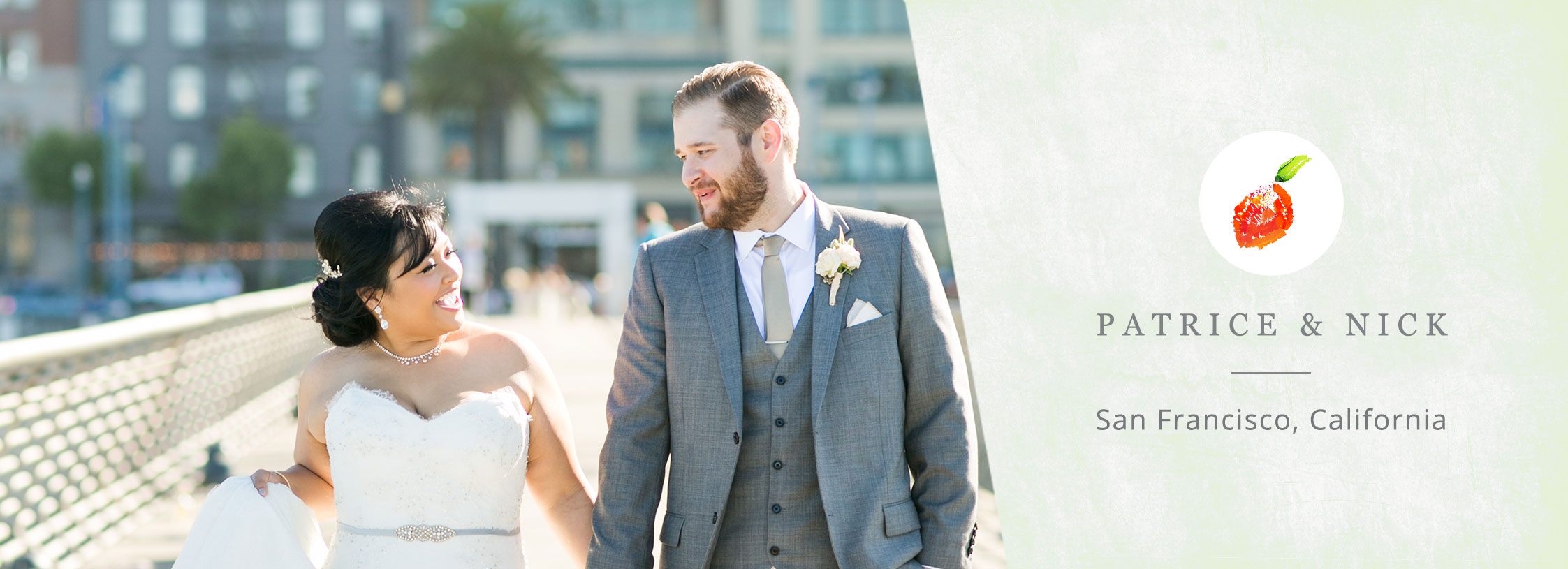 Happy couple at the Ferry Building in San Francisco for their destination wedding by destination wedding planner Mango Muse Events