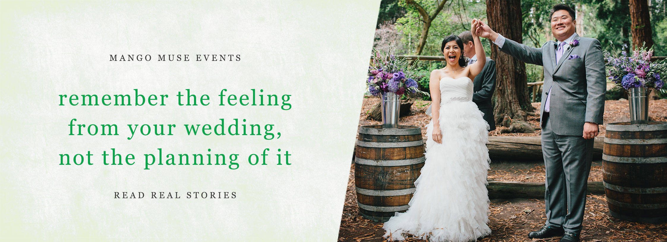 Bride and groom just married at a San Francisco destination wedding at Stern Grove by Destination wedding planner Mango Muse Events