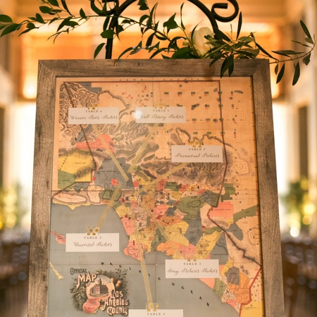 Los Angeles studios seating card map for a TV show writing couple at their San Francisco destination wedding by destination wedding planner Mango Muse Events