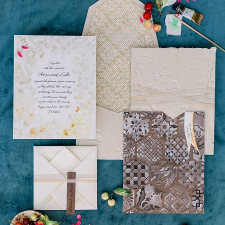 Painted patterned tile wedding invitation suite for a Croatia destination wedding by destination wedding planner Mango Muse Events