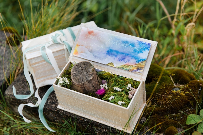 Hand made Skye in a box save the date for a Isle of Skye destination wedding in Scotland by destination wedding planner Mango Muse Events