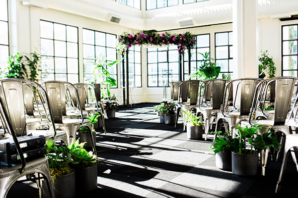 Urban conservatory wedding ceremony design at Terra gallery for a San Francisco wedding by Destination wedding planner Mango Muse Events