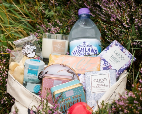 Welcome gift bag with local Scotland treats for a Scotland destination wedding by destination wedding planner Mango Muse Events