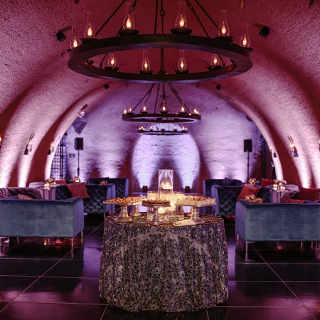 Luxe wine cave dance lounge and dessert bar at a Calistoga Ranch destination wedding by destination wedding planner Mango Muse Events