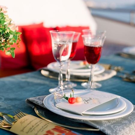 Rich textures and patterns at a Croatia yacht destination wedding by destination wedding planner Mango Muse Events