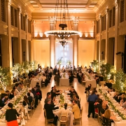 Historic wedding venue, Bently Reserve wedding reception with live trees at a destination wedding in San Francisco by destination wedding planner Mango Muse Events