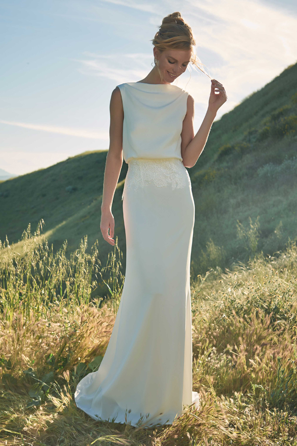 Boatneck sheath wedding dress with lace detail from Tadashi Shoji Bridal Spring 2020