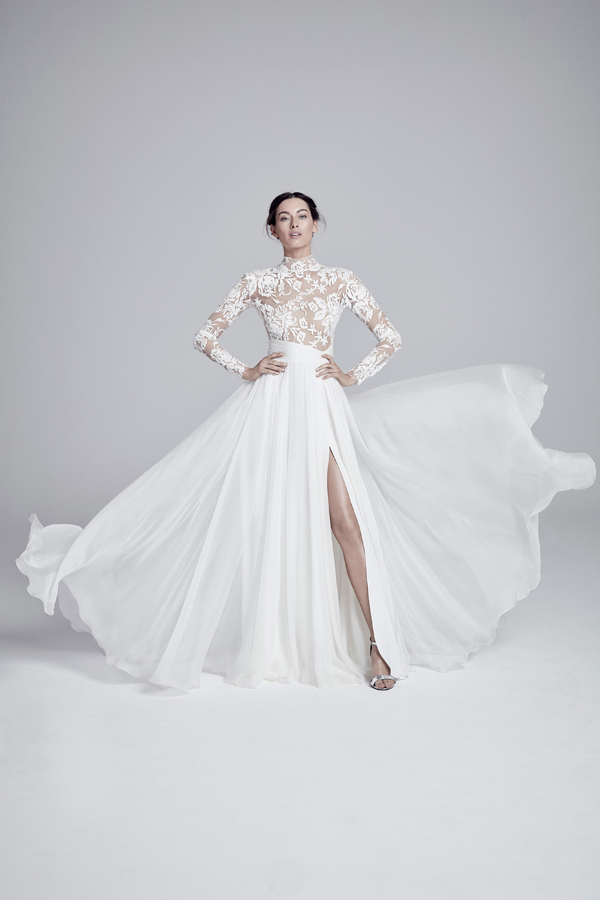 Floral cutout bodice and flowing skirt super hero wedding dress by Suzanne Neville Bridal Spring 2020