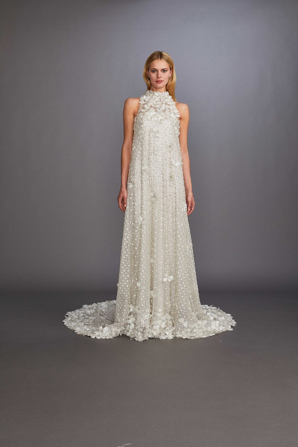 Halter beaded wedding dress by Allison Webb Bridal Spring 2020